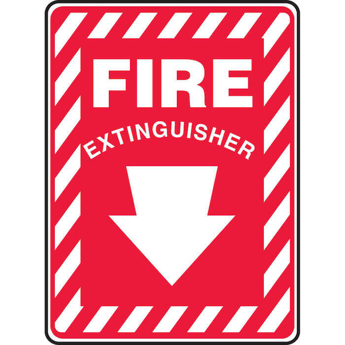 Fire extinguisher sign for an example