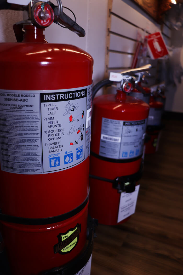 Fire extinguishers in the inventory